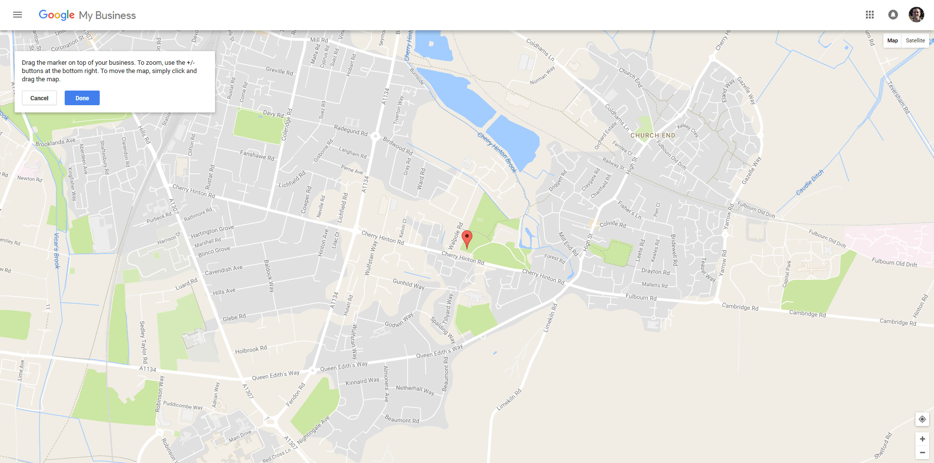 Screenshot from setting up a Google My Business listing showing the map