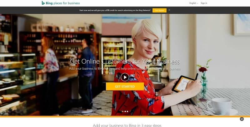Log-in screen for Bing Places