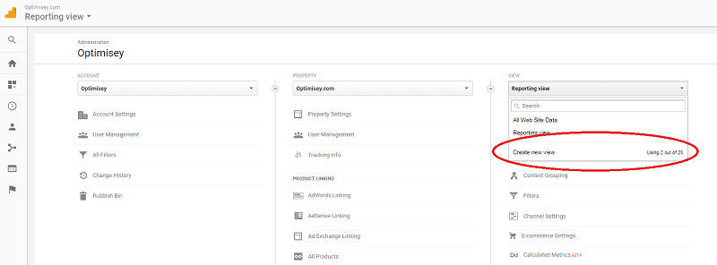 A screenshot from the Google Analytics admin screen (2017) showing where to add a new View