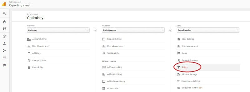 Screenshot from Google Analytics (2017) showing where to add a Filter to a view