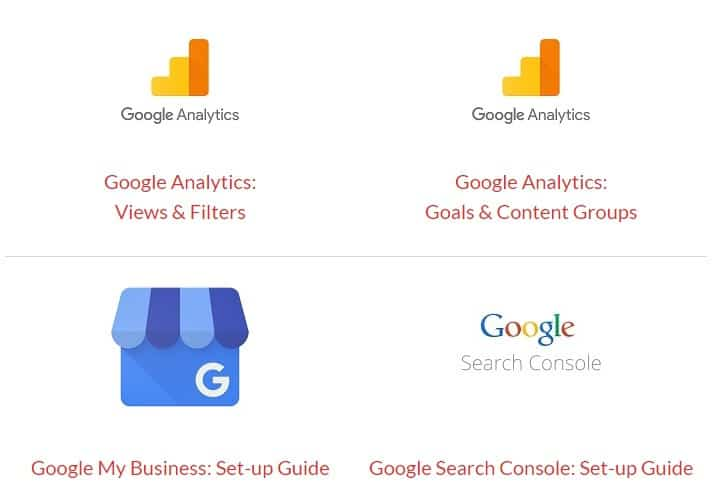 A composite image showing the Google Analytics, Google My Business and Google Search Console logos
