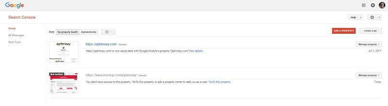 A screenshot from Google Search Console - showing the log-in screen and 'Add a Property' button