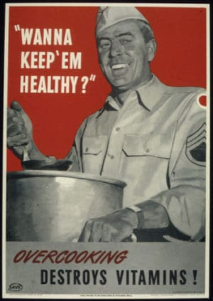 A war-time poster showing a male chef over a cooking pot with a message about not overcooking food