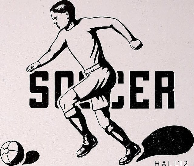 An illustration from 1912 showing a soccer player running with the ball in front of the word 'Soccer'