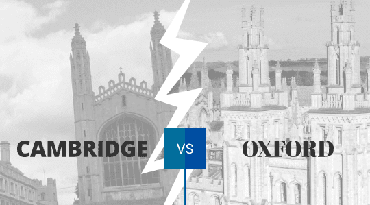 A graphic showing Kings College Cambridge and the spires of Oxford