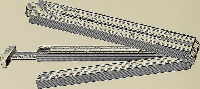 An illustration from circa 1900s of three measuring rulers - from the Internet Archive Book