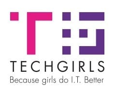 The Tech Girls UK logo - a stylised pink letter T with a purple G