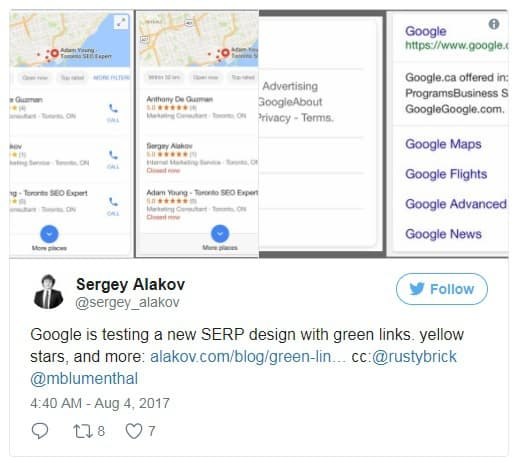A screenshot showing a tweet by Sergey Alakov - one of 20 top SEO experts to follow