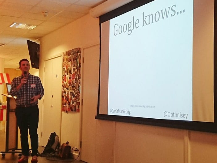 A photo of Andrew Cock-Starkey speaking about SEO at the Cambridge Marketing MeetUp, taken by Lenka Koppova