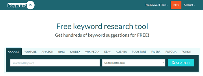 Screenshot from the keyword.io homepage