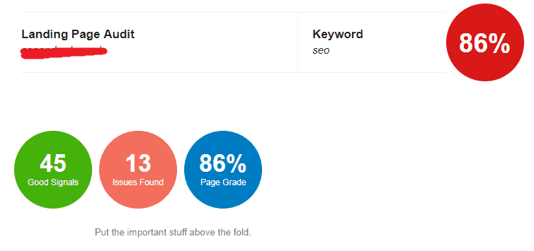 Screenshot from a free SEO audit report showing school-like grades