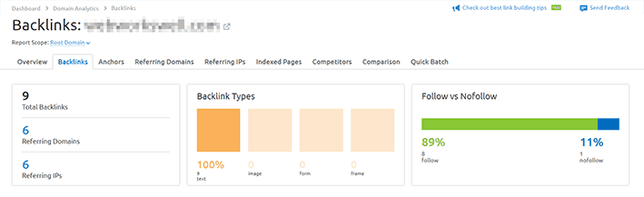 A screenshot from SEMrush showing backlinks analysis to a target domain