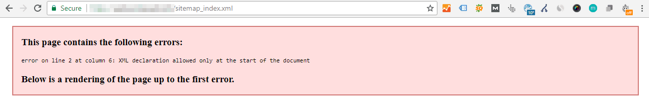 Screenshot of an attempt to view a site's sitemap, which is broken