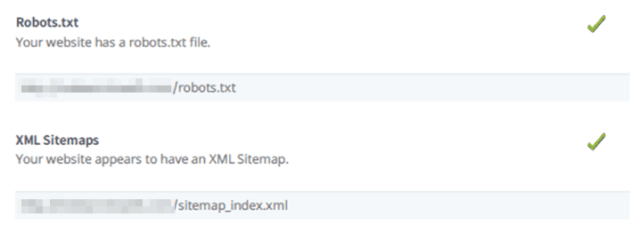 A screenshot from a free SEO audit tool showing a report on the sitemap and robots.txt