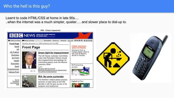 A slide from Andrew Martin's talk on SEO basics at Optimisey
