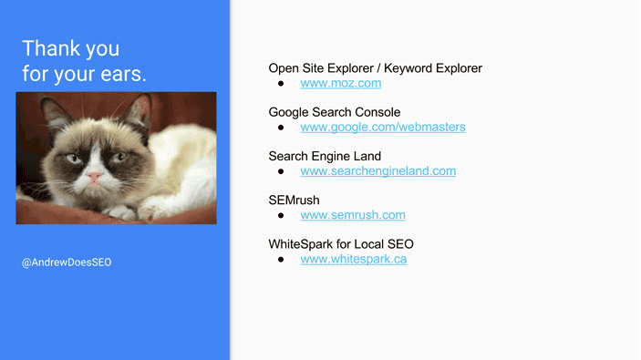A slide from Andrew Martin's talk at Optimisey showing his closing slide and suggested links