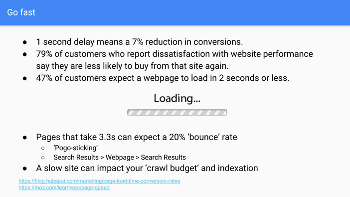 A slide from Andrew Martin's talk at Optimisey showing some of the consequences of having a slow site