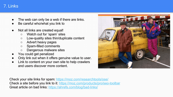 A slide from Andrew Martin's talk at Optimisey showing advice around how to get good links