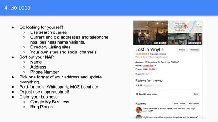 A slide from Andrew Martin's talk at Optimisey showing a screenshot of a well optimised local search result