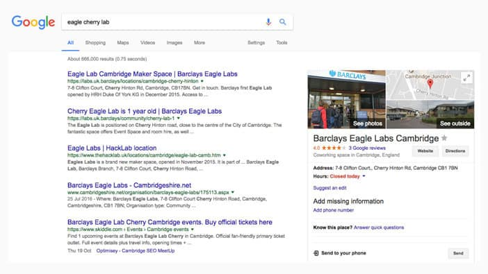 A slide from Andrew Martin's talk at Optimisey showing a screenshot of a search for Eagle Lab Cherry