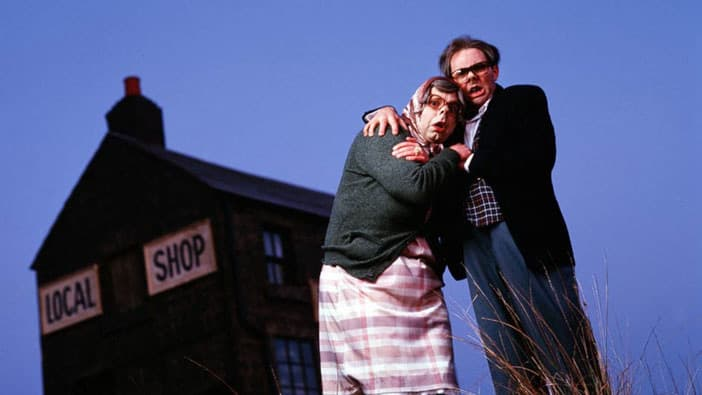A slide from Andrew Martin's talk at Optimisey showing a still from The League of Gentlemen