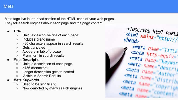 A slide from Andrew Martin's talk at Optimisey showing advice on how to write good titles and meta descriptions