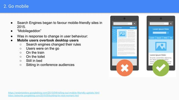 A slide from Andrew Martin's talk at Optimisey showing why and when search engines started to go mobile first