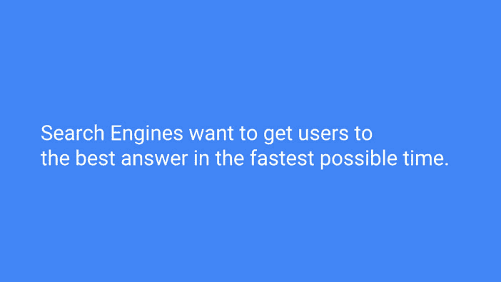 A slide from Andrew Martin's talk at Optimisey showing search engine's aims