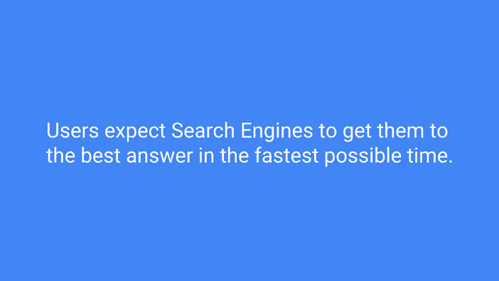 A slide from Andrew Martin's talk at Optimisey showing users' expectations of search engines