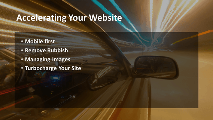A slide from Andrew Rayner's SEO talk at Optimisey in October 2017 - about how to make your site faster