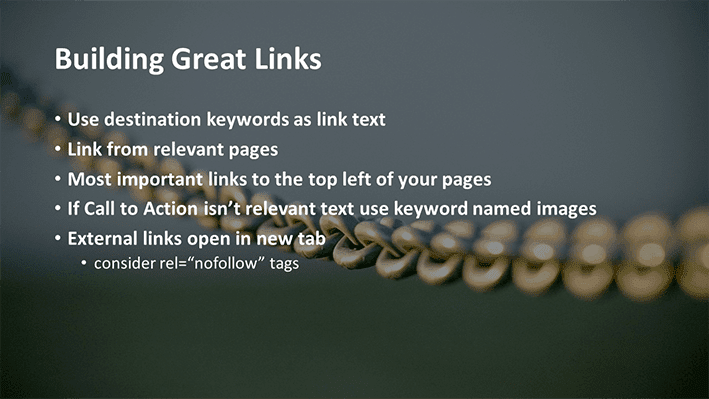 A slide from Andrew Rayner's SEO talk at Optimisey in October 2017 - about building great links