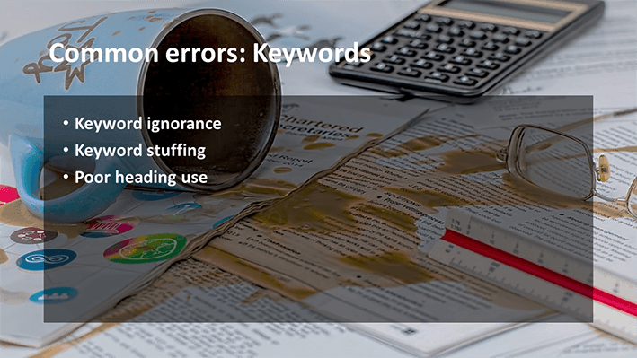 A slide from Andrew Rayner's SEO talk at Optimisey in October 2017 - common errors with keywords