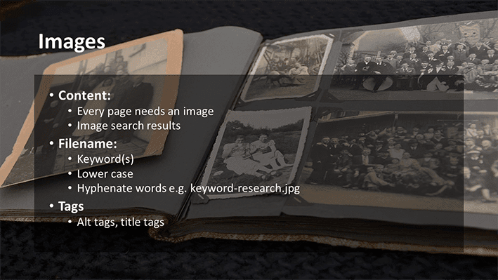 A slide from Andrew Rayner's SEO talk at Optimisey in October 2017 - about image optimisation