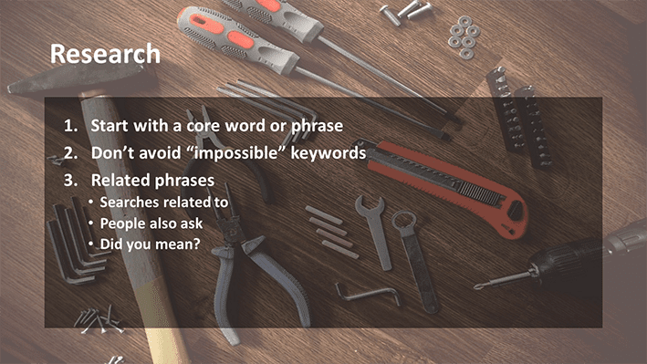 A slide from Andrew Rayner's SEO talk at Optimisey in October 2017 about keyword research