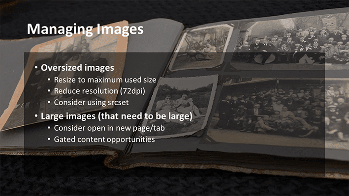 A slide from Andrew Rayner's SEO talk at Optimisey in October 2017 - about managing images to make your site faster
