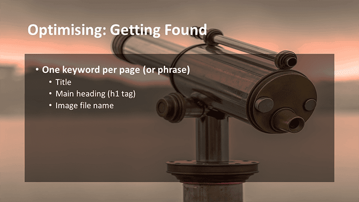 A slide from Andrew Rayner's SEO talk at Optimisey in October 2017 - about having a single focus per page