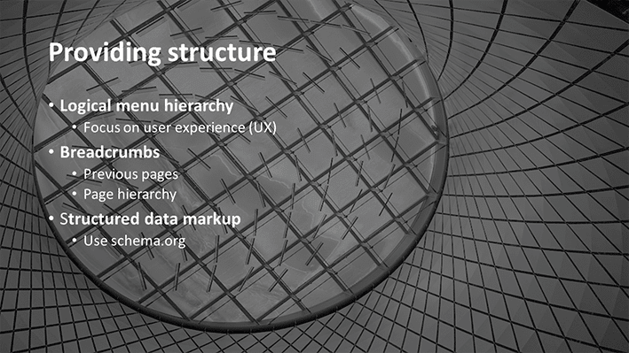 A slide from Andrew Rayner's SEO talk at Optimisey in October 2017 - about site structure