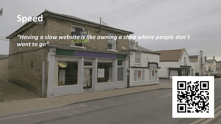 A slide from Andrew Rayner's SEO talk at Optimisey in October 2017 - about site speed