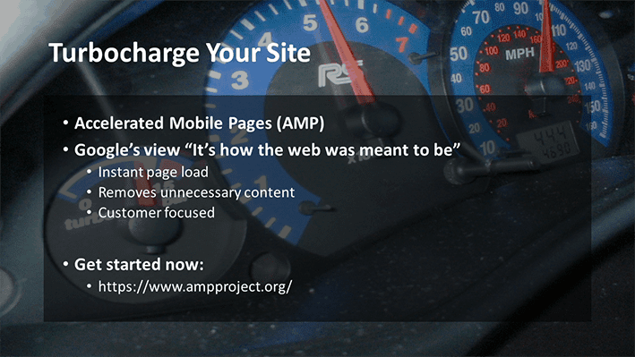 A slide from Andrew Rayner's SEO talk at Optimisey in October 2017 - about AMP to improve your site speed