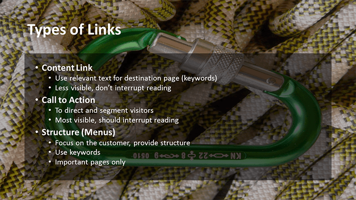 A slide from Andrew Rayner's SEO talk at Optimisey in October 2017 - about types of links