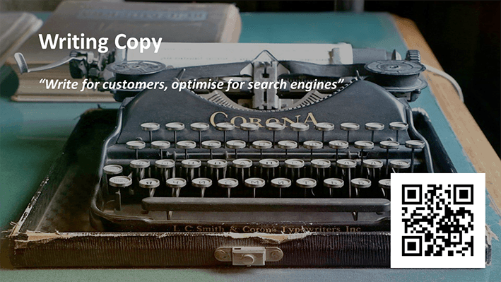 A slide from Andrew Rayner's SEO talk at Optimisey in October 2017 - about writing copy
