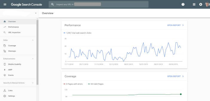 Google Search Console's overview page