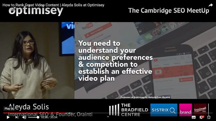 A screenshot of a video of Aleyda Solis talking at the Optimisey SEO event