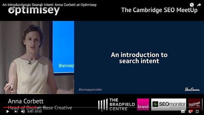 A screenshot of a video of Anna Corbett talking at the Optimisey SEO event