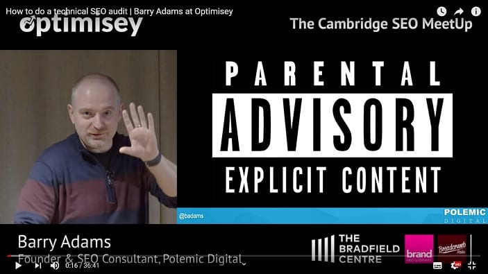 A screenshot of a video of Barry Adams talking at the Optimisey SEO event
