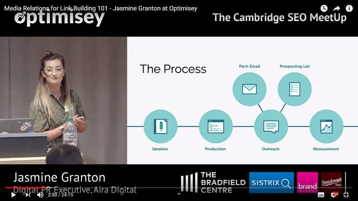 A screenshot of a video of Jasmine Granton talking at the Optimisey SEO event