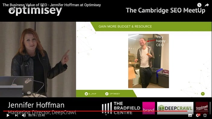 A screenshot of a video of Jen Hoffman talking at the Optimisey SEO event