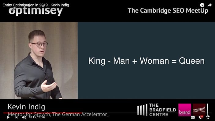 A screenshot of a video of Kevin Indig talking at the Optimisey SEO event