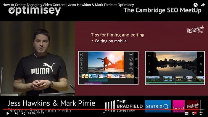 A screenshot of a video of Mark Pirrie talking at the Optimisey SEO event