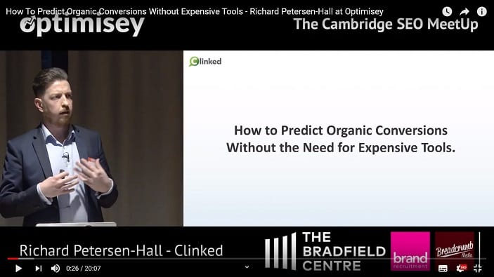 A screenshot of a video of Richard Petersen-Hall talking at the Optimisey SEO event